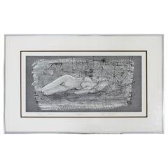 Mid-Century Modern Framed Signed Ellie Gibbel Reclining Nude 8/125