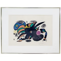 Mid-Century Modern Framed Signed Joan Miro San Titre Artist Proof Lithograph