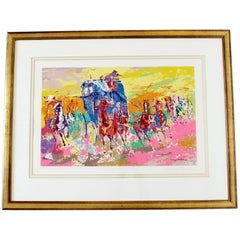 Mid-Century Modern Framed Signed Leroy Neiman Lithograph Numbered 164/300 Horses
