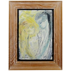 Mid-Century Modern Framed Signed Lillian Desow Fishbein Painting Oil on Board