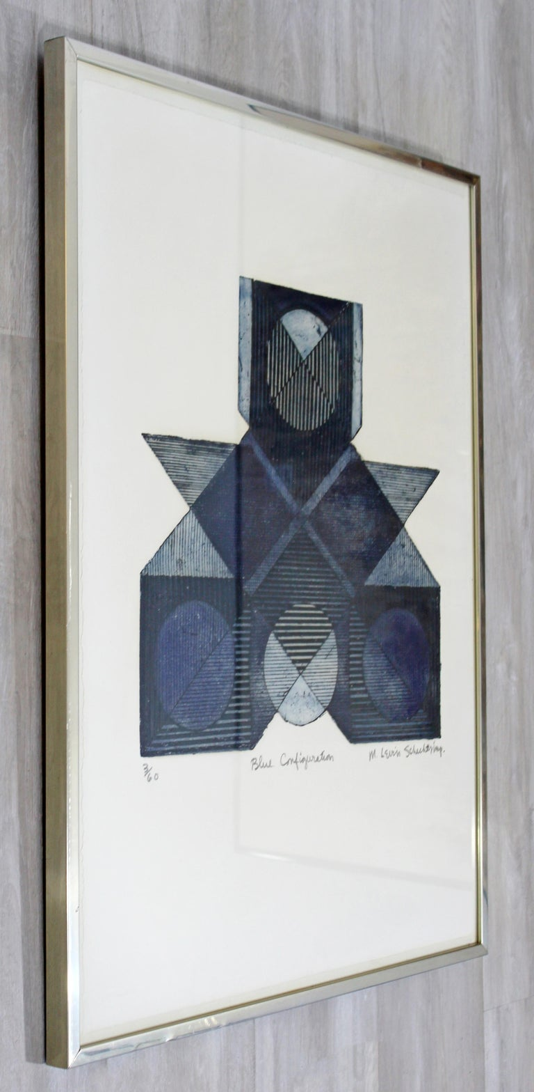 Mid-Century Modern Framed Signed Marilyn Levin Schecter Aquatint Etching, 1970s In Good Condition In Keego Harbor, MI