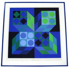 Mid-Century Modern Framed Signed Numbered Op Art Litho Print Victor Vasarely