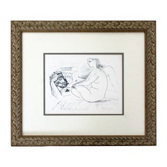 Mid-Century Modern Framed Signed Pablo Picasso Artist & Muse Lithograph