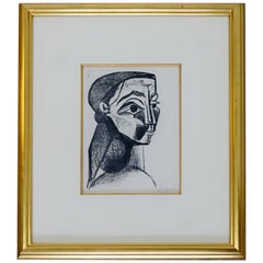 Mid-Century Modern Framed Signed Pablo Picasso Portrait De Femme Lithograph