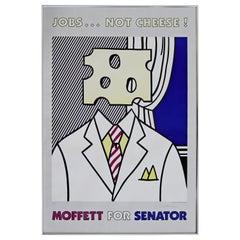 Mid-Century Modern Framed Signed Roy Lichtenstein Pop Art Poster 1970s Senator