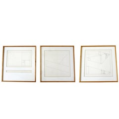 Mid-Century Modern Framed Signed Set of Three Prints by David Barr 170 Geometry