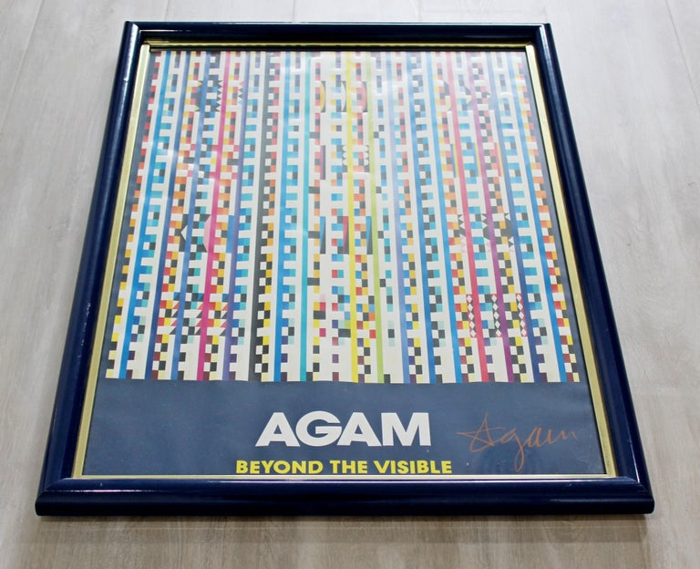 For your consideration is a framed, pop op art poster, signed by Yaacov Agam, circa 1970s. In excellent vintage condition. The dimensions are 24