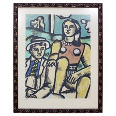 Mid-Century Modern Framed Stamped Signed Fernand Leger Lithograph 2 Lovers 1950s