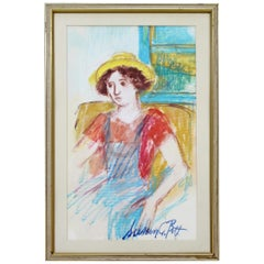 Mid-Century Modern Framed Susan Bolt Untitled Female Pastel Art Framed Signed