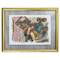 Mid-Century Modern Framed Theo Tobiasse Acrylic Lithograph 92/125 Signed