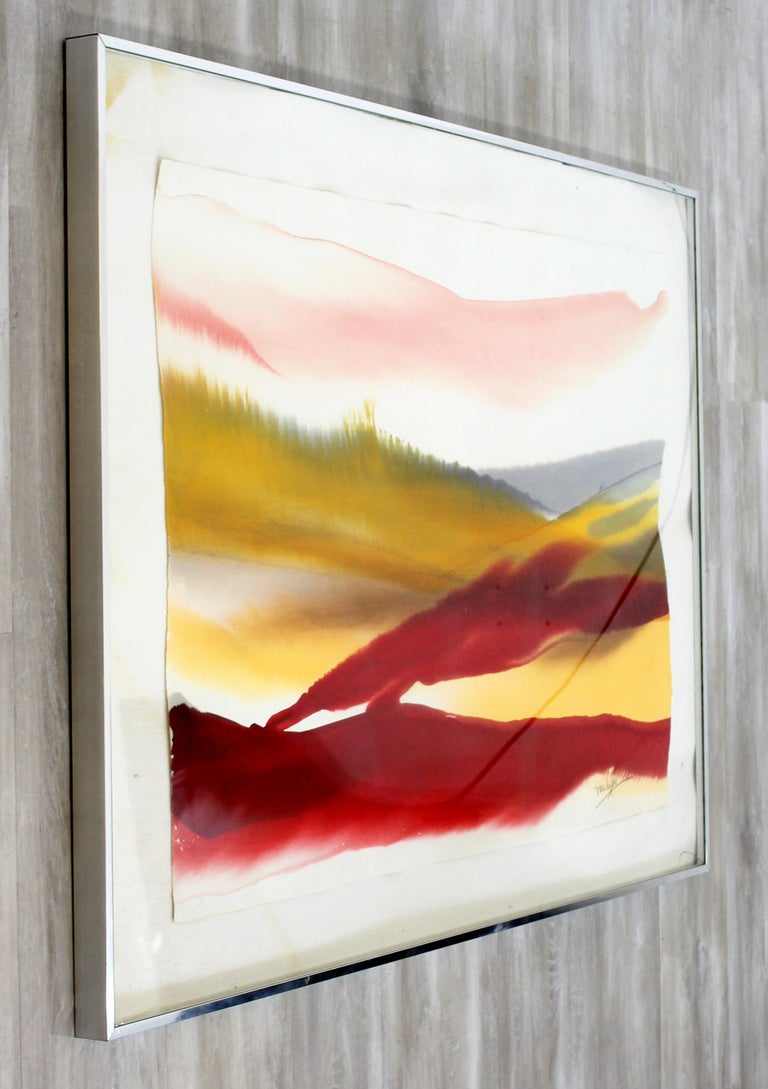 Mid-Century Modern Framed Von Dyan Signed Abstract Watercolor Painting, 1970s In Good Condition For Sale In Keego Harbor, MI