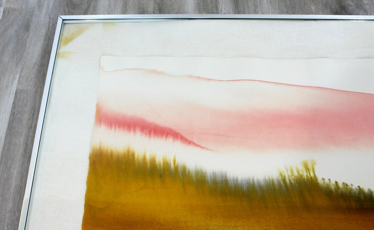 Late 20th Century Mid-Century Modern Framed Von Dyan Signed Abstract Watercolor Painting, 1970s For Sale