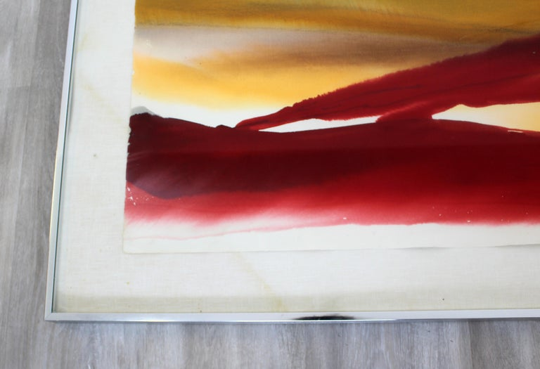 Paper Mid-Century Modern Framed Von Dyan Signed Abstract Watercolor Painting, 1970s For Sale