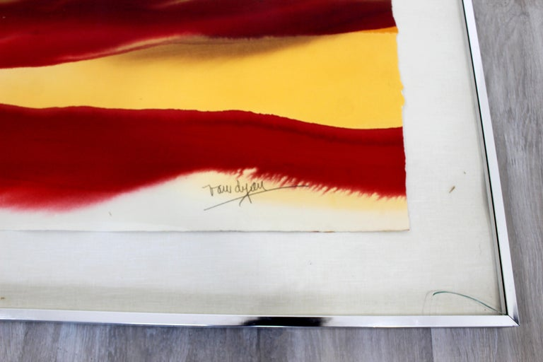 Mid-Century Modern Framed Von Dyan Signed Abstract Watercolor Painting, 1970s For Sale 1