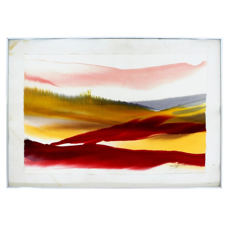 Mid-Century Modern Framed Von Dyan Signed Abstract Watercolor Painting, 1970s For Sale