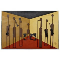 Mid-Century Modern Framed Wood Wall Art Relief Musician Signed Greg Hawthorne