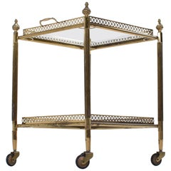 Mid-Century Modern, France, 1950, Brass and Glas Bar Cart Trolley, from Paris