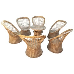 Mid-Century Modern France Rattan Garden Furniture, 1960s