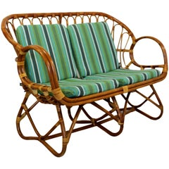 Mid-Century Modern Franco Albini Bamboo Rattan Loveseat Settee Sofa 1960s Italy