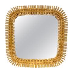 Mid-Century Modern Franco Albini Bonacina Rattan and Bamboo Mirror, Italy, 1960s