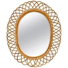 Mid-Century Modern Franco Albini Rattan and Bamboo Oval Mirror, Italy, 1960s