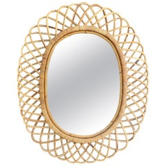 Mid-Century Modern Franco Albini Rattan and Bamboo Oval Mirror, Italy, 1960s