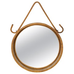 Mid-Century Modern Franco Albini Rattan Bamboo Round Wall Mirror, Italy, 1960s