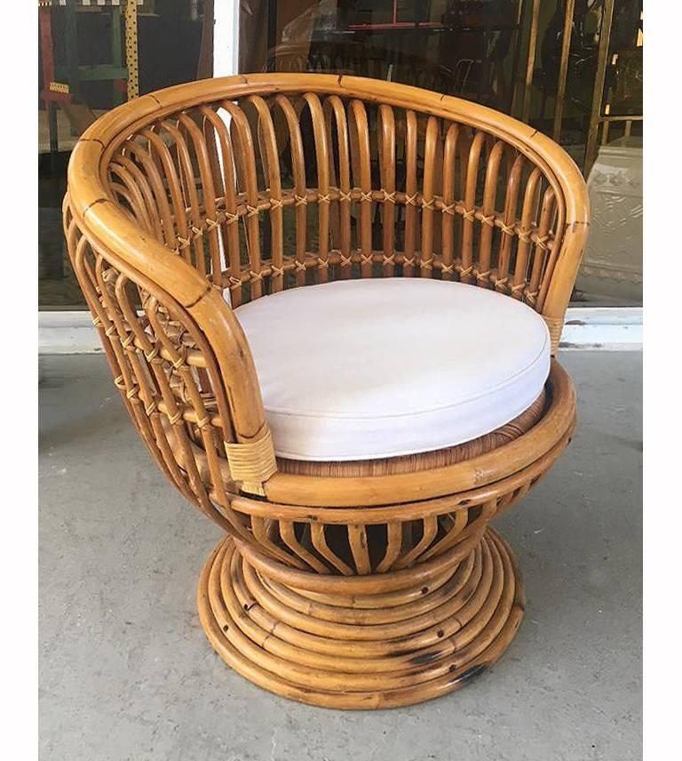 Offered For Sale Is A Mid Century Modern Bent Rattan Swivel Chair By  Italian Designer