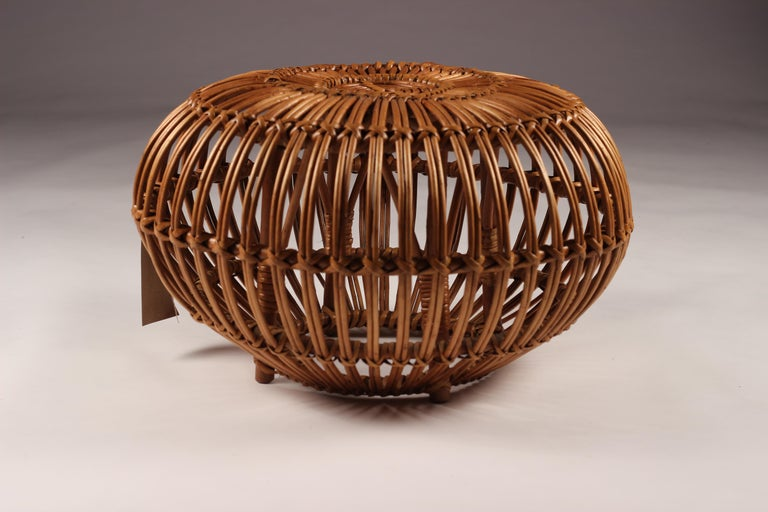 Mid-Century Modern Wicker Ottoman, Stool or Side Table For Sale 5