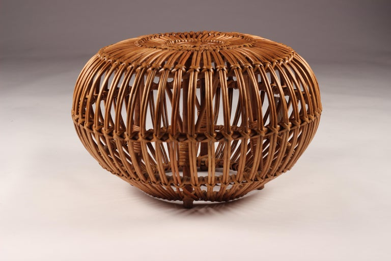 Mid-Century Modern Wicker Ottoman, Stool or Side Table For Sale 7