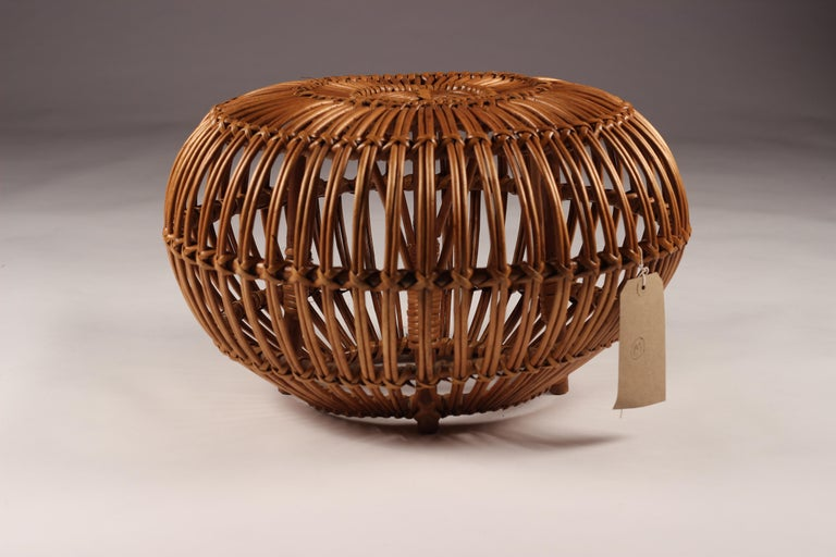 Mid-Century Modern Wicker Ottoman, Stool or Side Table For Sale 8