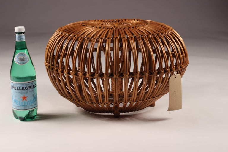 Mid-Century Modern Wicker Ottoman, Stool or Side Table For Sale 9