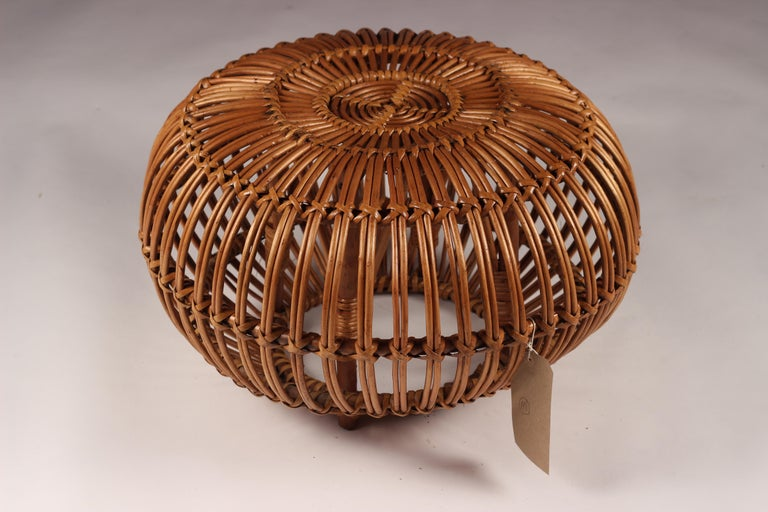 20th Century Mid-Century Modern Wicker Ottoman, Stool or Side Table For Sale