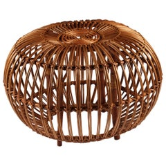 Wicker Ottoman, Stool or Side Table By Franco Albini