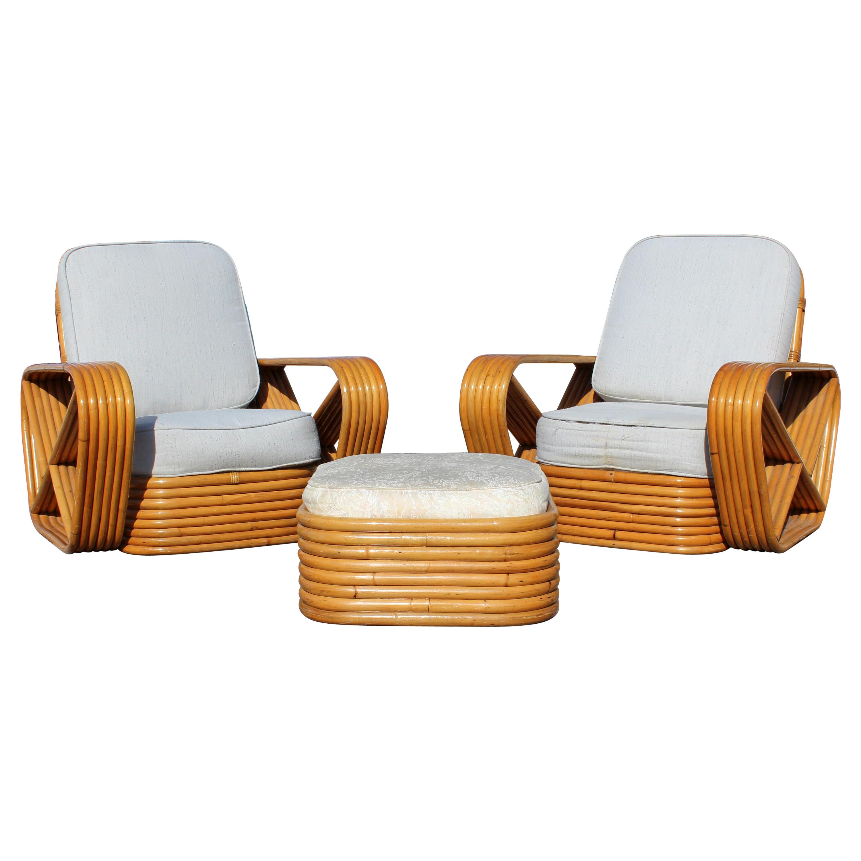 Mid-Century Modern Frankl Pretzel Pair of Rattan Patio Lounge Armchairs Ottoman