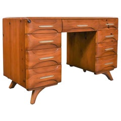 Mid-Century Modern Franklin Shockey Sculpted Pine Double Pedestal Desk or Vanity