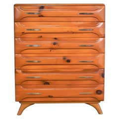 Mid-Century Modern Franklin Shockey Sculpted Pine Tall Chest of Drawers