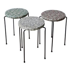 Mid-Century Modern Frederick Weinberg Style S/3 Wrought Iron Stacking Stools