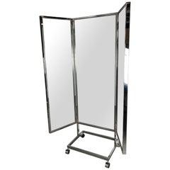 Mid-Century Modern Free-Standing Chrome Three-Panel Mirror, Milo Baughman Style