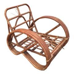Mid-Century Modern French 3/4 Round Pretzel Arm Bamboo Lounge Chair, 1970s