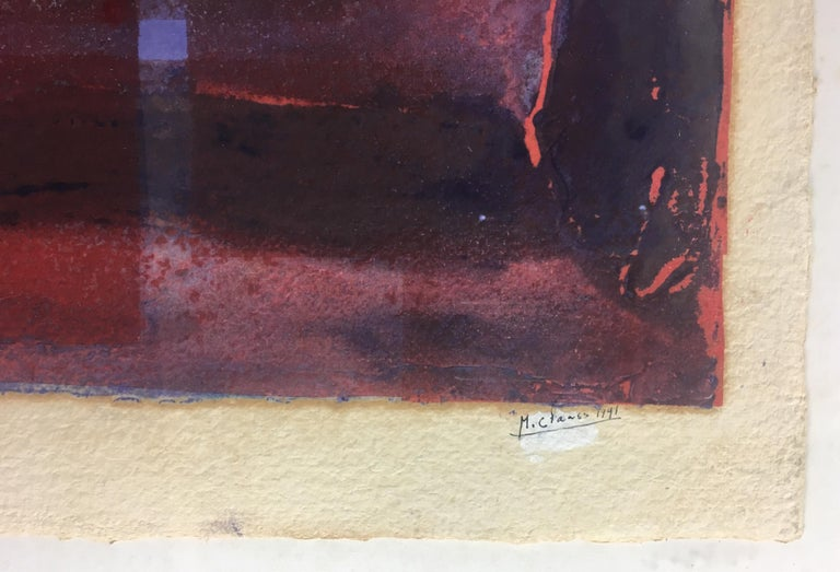 Original signed and numbered lithograph by French artist M. Clauss from the Ecole de Nice, France.   These deep, rich colors and abstract subject matter will enhance any space. Perfect vintage condition.  Sold professionally framed.  Original
