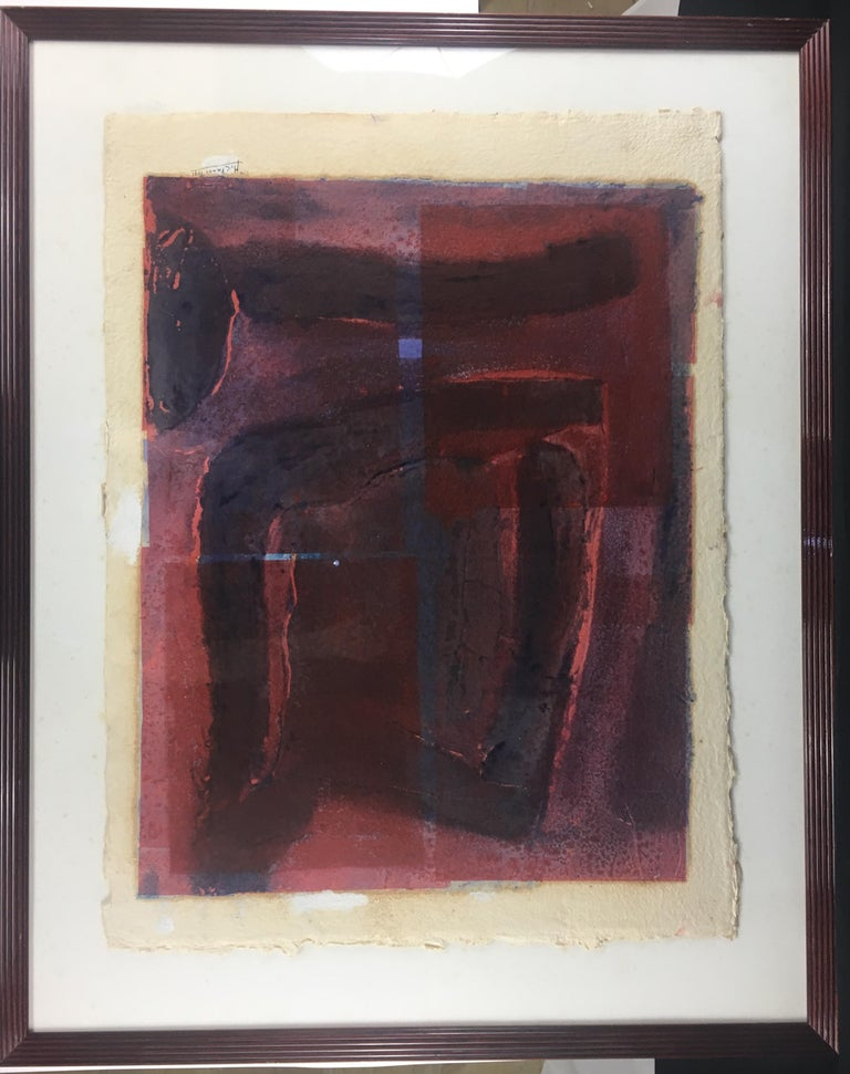 Minimalist Mid-Century Abstract Lithograph, Signed M. Clauss, estate of James Baldwin For Sale