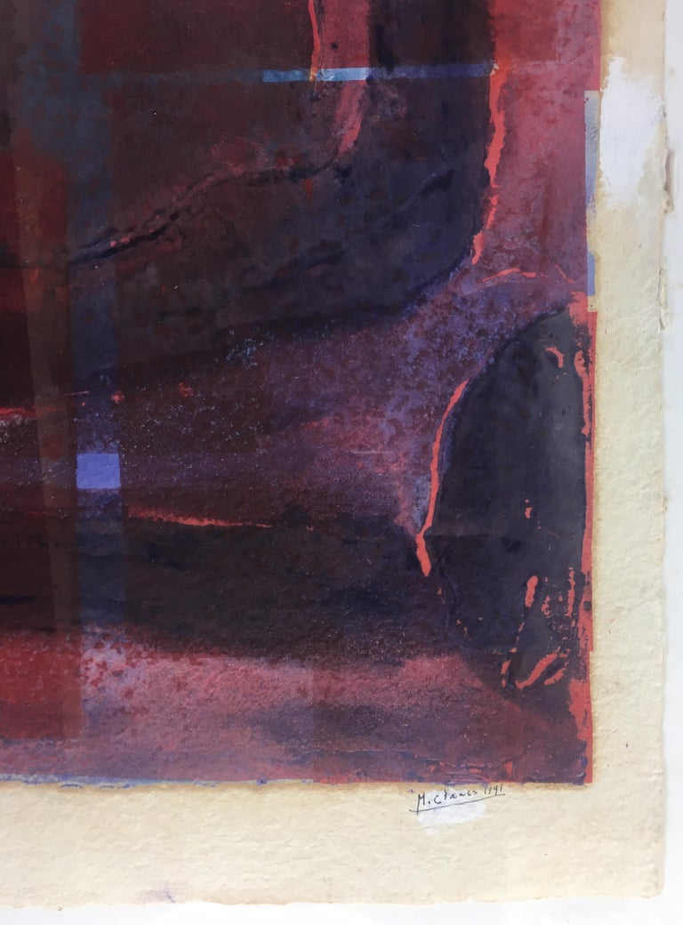 French Mid-Century Abstract Lithograph, Signed M. Clauss, estate of James Baldwin For Sale