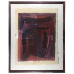 Mid-Century Abstract Lithograph, Signed M. Clauss, estate of James Baldwin