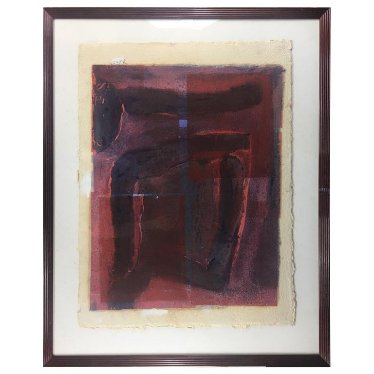 Mid-Century Abstract Lithograph, Signed M. Clauss, estate of James Baldwin For Sale