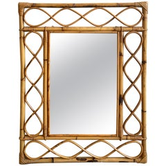 Mid-Century Modern French Bamboo Framed Mirror, 1970s