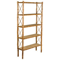 Mid-Century Modern French Bamboo and Rattan Étagère