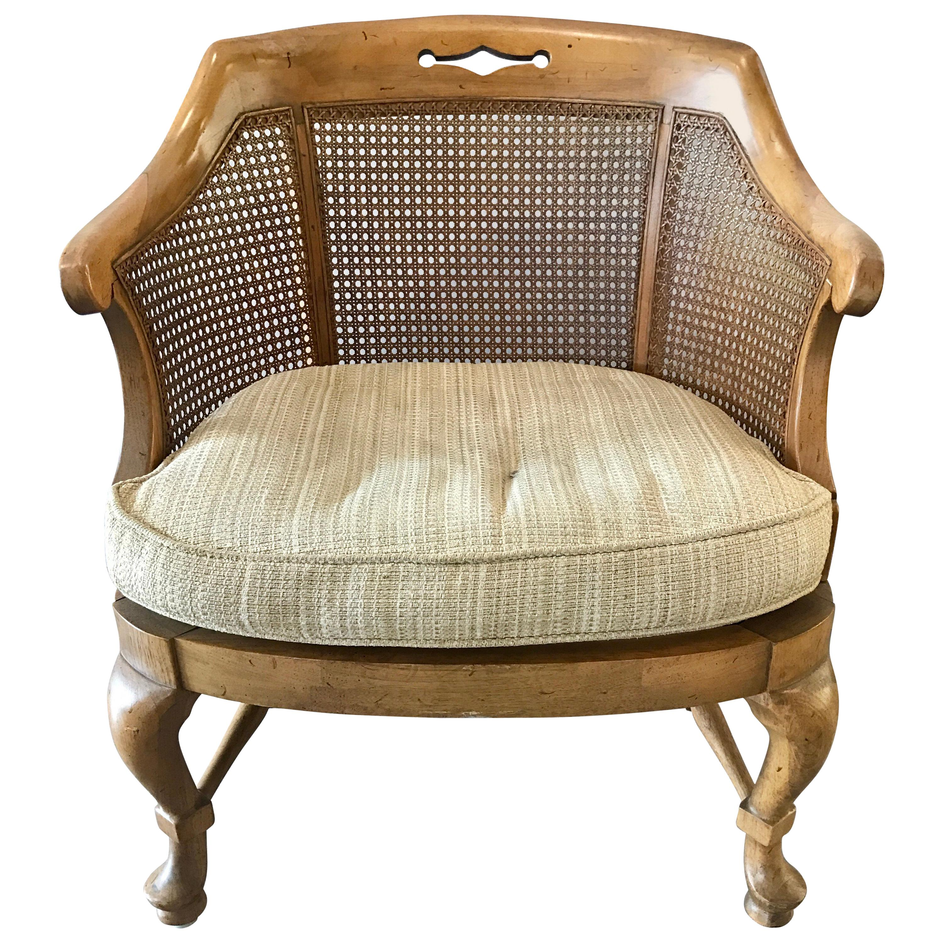 Mid-Century Modern French Barrel Back Caned Armchair