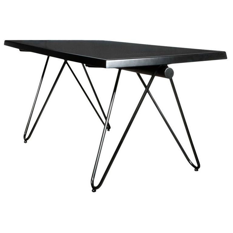 Mid-Century Modern French Black Lacquered Metal Table or Desk