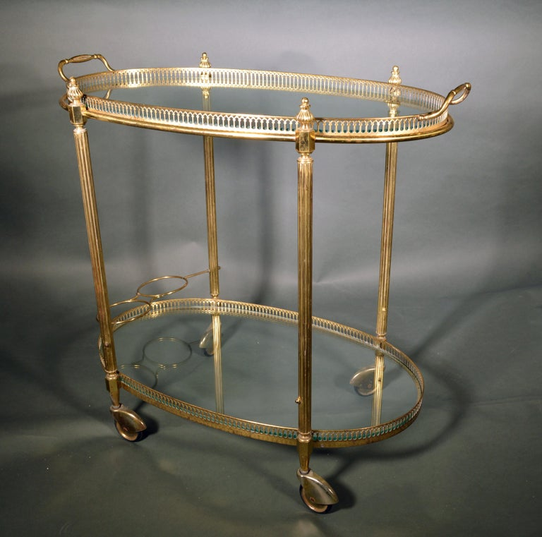 20th Century Mid-Century Modern French Brass and Glass Bar Cart, the 1950s For Sale